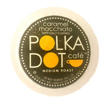 Polka Dot Cafe Caramel Macchiato Coffee Single Cup. Compatible with all single cup brewers, including Keurig® and Keurig® 2.0.