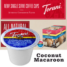 Torani Coconut Macaroon Coffee Single Cup. Compatible with most or all single cup brewers including Keurig® and Keurig® 2.0. House blend coffee is layered with flavors of the delightful cookie treat, with just the right amount of coconut and toasted cookie flavors.