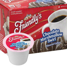 Friendly's Chocolate Marshmallow Swirl Coffee Single Cup. When smooth chocolate and sweet marshmallow are swirled into rich, full-bodied coffee, the result is unlike anything you've ever tasted. Sinfully sweet and oh-so-creamy, our chocolate marshmallow swirl coffee is a dessert lover's dream. Compatible with all single serve brewers, including Keurig® and Keurig® 2.0.