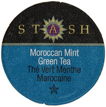 Stash Tea Moroccan Mint Green Tea Single Cup. Caffeinated. Take a trip through the Moroccan bazaars and discover Moroccan Mint tea. Cool and refreshing, this intriguing blend is both a pick-me-up and a soothing escape. Pacific Northwest mint blended with green tea and a touch of lemongrass. Compatible with all single serve brewers, including Keurig® not Keurig® 2.0.