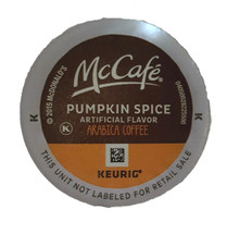 McCafe Pumpkin Spice Coffee K-Cup® Pod. Pumpkin spice flavor. 100% arabica light blend. Compatible with all single cup brewers.