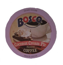 Bosco Coconut Cream Pie Coffee Single Cup. Few things go better with a steaming cup of fresh brewed coffee than a decadent slice of coconut cream pie. So, we decided to combine the two in our sinfully good Coconut Cream Pie Coffee. rich coffee, luscious coconut, and sweet vanilla cream intermingle in this unforgettable blend. Compatible with all single serve brewers, including Keurig® and Keurig® 2.0.