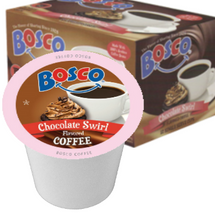 Bosco Chocolate Swirl Coffee Single Cup. A little bit of chocolate makes everything better. That's especially true when it comes to coffee. 100% Arabica beans roasted and swirled in a rich drizzle of Bosco chocolate. Compatible with all single serve brewers, including Keurig® and Keurig® 2.0.