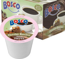 Bosco Chocolate Hazelnut Coffee Single Cup. Chocolate combined with hazelnut! Compatible with all single serve brewers, including Keurig® and Keurig® 2.0.