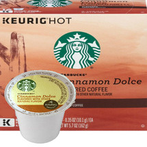 Starbucks Cinnamon Dolce Coffee K-Cup® Pod. Mellow flavored cinnamon, butter, and brown sugar notes. For use in all single cup brewers.
