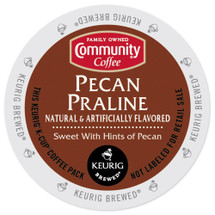 Community Coffee Pecan Praline Coffee K-Cup® Pod. Steeped in the Southern flavors of creamy pralines and sweet pecans. Compatible with all single cup brewers.
