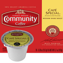 Community Coffee Cafe Special Coffee Single Cup. Compatible with all single cup brewers.
