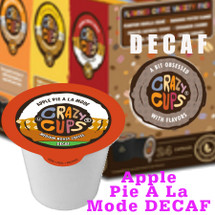 Crazy Cups Apple Pie A La Mode DECAF Coffee Single Cup. The classic taste of hot apple pie smothered in vanilla ice cream. So American, you can almost taste the flag. Compatible with most single cup brewers including Keurig and Keurig 2.0.