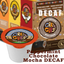 Crazy Cups Peppermint Chocolate Mocha DECAF Single Cup. Peppermint, Chocolate and Mocha. It's more than coffee, It's a party in a Mug. Compatible with most single cup brewers including Keurig and Keurig 2.0.