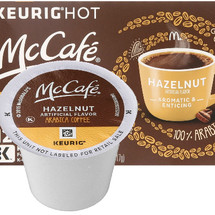 McCafe Hazelnut Coffee K-Cup® Pod. Hazelnut flavor. 100% arabica light blend. Compatible with all single cup brewers.