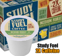 Study Fuel 2X The Caffeine Coffee Single Cup. Study Fuel coffee is a special blend of roasted coffee plus added caffeine from a natural botanical source. Compatible with most single cup brewers including Keurig and Keurig 2.0.