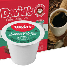 David's Cookies Cafe Collection Mint Chocolate Brownie Coffee Single Cup. Compatible with most single cup brewers including Keurig and Keurig 2.0.