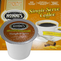 Nonni's Pumpkin Spice Coffee Single Cup. Compatible with most single cup brewers including Keurig and Keurig 2.0.