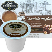 Cafe Continental Chocolate Hazelnut Cappuccino Single Cup. An indulgent combination of buttery roasted hazelnuts blended with rich cocoa. Compatible with most single cup brewers including Keurig and Keurig 2.0.