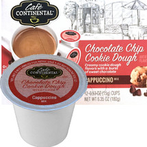 Cafe Continental Chocolate Chip Cookie Dough Cappuccino Single Cup. Creamy cookie dough flavors with a burst of sweet chocolate. Compatible with most single cup brewers including Keurig and Keurig 2.0.