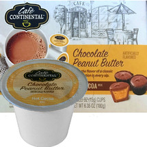 Cafe Continental Chocolate Peanut Butter Hot Cocoa Single Cup. Enjoy the flavor of a classic combination in every sip. Compatible with most single cup brewers including Keurig and Keurig 2.0.