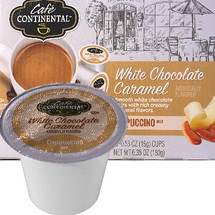Cafe Continental White Chocolate Caramel Cappuccino Single Cup. Smooth white chocolate pairs with rich creamy caramel flavors. Compatible with most single cup brewers including Keurig and Keurig 2.0.