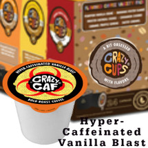 Crazy Caf Extra Caffeine Vanilla Blast Flavored Coffee Single Cup. WITH 4 TIMES THE CAFFEINE OF YOUR AVERAGE CUP OF JOE, CRAZY CAF IS THE ULTIMATE WAY TO BLAST INTO YOUR DAY. SUPERCHARGED WITH AN EYE-BLASTING 540 MG OF CAFFEINE, IT'LL KICK START YOUR MORNING OR KEEP GOING ALL NIGHT.  SO BREW YOURSELF A CUP AND PUT AWAY YOUR PILLOW–YOUR WON'T BE NEEDING IT FOR A WHILE. Compatible with most single cup brewers including Keurig and Keurig 2.0.