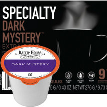 Barrie House Dark Mystery Specialty Small Batch Roasted Coffee Single Cup. A dark roast full of bold complexity and elegance balanced with cocoa notes and spice nuances. Compatible with most single cup brewers including Keurig and Keurig 2.0.