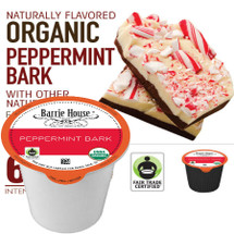 Barrie House Fair Trade Organic Peppermint Bark Coffee Single Cup. Lively peppermint with velvety dark chocolate notes infuse this coffee with a remarkable finish and all the warmth of the holidays. Compatible with most single cup brewers including Keurig and Keurig 2.0.