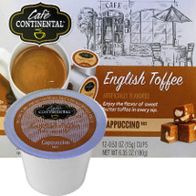 Cafe Continental English Toffee Cappuccino Single Cup. Enjoy the flavor of sweet butter toffee in every sip. Compatible with most single cup brewers including Keurig and Keurig 2.0.