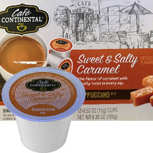 Cafe Continental Sweet & Salty Caramel Cappuccino Single Cup. The flavor of caramel with a salty twist in every sip. Compatible with most single cup brewers including Keurig and Keurig 2.0.