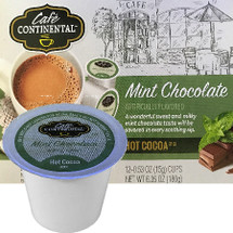 Cafe Continental Mint Chocolate Hot Cocoa Single Cup. A wonderful sweet and milky mint chocolate taste will be savored in every soothing sip. Compatible with most single cup brewers including Keurig and Keurig 2.0.