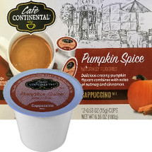 Cafe Continental Pumpkin Spice Cappuccino Single Cup. Delicious creamy pumpkin flavors combines with notes of nutmeg and cinnamon. Compatible with most single cup brewers including Keurig and Keurig 2.0.