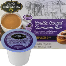 Cafe Continental Vanilla Frosted Cinnamon Bun Cappuccino Single Cup. Sweet creamy vanilla flavors with a cinnamon finish. Compatible with most single cup brewers including Keurig and Keurig 2.0.