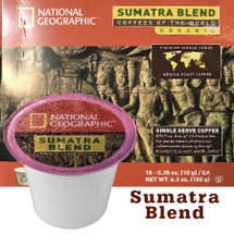 National Geographic Sumatra Blend Organic Single Cup. Compatible with most or all single cup brewers including Keurig® and Keurig® 2.0.