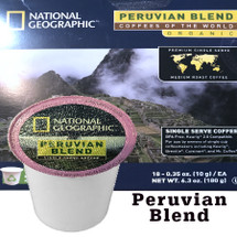 National Geographic Peruvian Blend Organic Coffee Single Cup. Compatible with most or all single cup brewers including Keurig® and Keurig® 2.0.