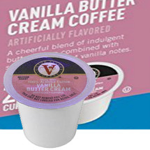 Victor Allen's Coffee Vanilla Buttercream Coffee Single Cup. Compatible with most single cup brewers including Keurig and Keurig 2.0.