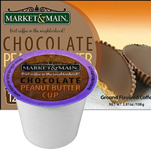 Market & Main Chocolate Peanut Butter Cup Coffee Single Cup. A blend of chocolate and creamy peanut butter, Compatible with most or all single cup brewers including Keurig® and Keurig®