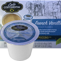 Cafe Continental French Vanilla Cappuccino Single Cup. Enjoy the sweet and creamy vanilla taste and pleasant aroma in every sip. Compatible with most single cup brewers including Keurig and Keurig 2.0.