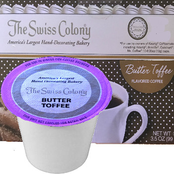 The Swiss Colony Butter Toffee Coffee Single Cup. Delicate, buttery flavor with a mellow hint of almond. A smooth blend that brings to mind the art of patient, handcrafted are in every drop. Serenity in a cup. Compatible with most single cup brewers including Keurig and Keurig 2.0.