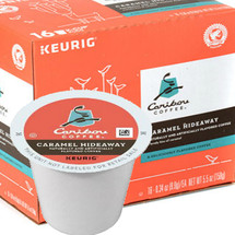 Caribou Caramel Hideaway Coffee K-Cup® Pod. A lovely kiss of caramel. Compatible with most single cup brewers including Keurig & Keurig 2.0.