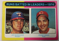 1975 Topps #308 1974 RBI Leaders Jeff Burroughs & Johnny Bench EX