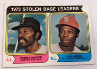 1974 Topps #204 1973 Stolen Base Leaders Tommy Harper & Lou Brock VG