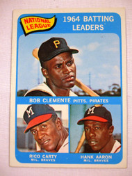1965 Topps #2 1964 NL Batting Leaders, Clemente, Carty, Aaron. EXMT