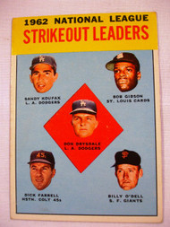 1963 Topps #9 1962 NL Strikeout Leaders Drysdale, Koufax, Gibson, Farrell, O'Dell EX