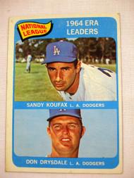 1965 Topps #8 1964 NL ERA Leaders Koufax & Drysdale EX