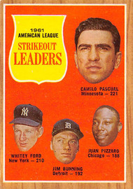 1962 Topps #59 1961 AL Strikeout Leaders EXMT. Ford, Pascual, Bunning & Pizzaro