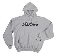 U. S. MARINE CORPS Marines Pullover Hooded Sweatshirt GRAY