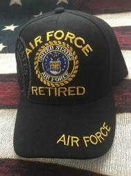 U.S. AIR FORCE RETIRED Military Hat Official BLACK CAP Velcro