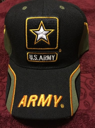 U.S. ARMY Military Hat Official ARMY LETTERS, Black cap