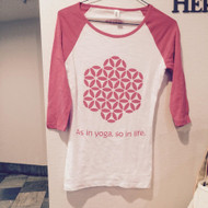 "Women's Baseball Tee - Boat Neck 3/4 Sleeve - ""As in yoga, so in life."""