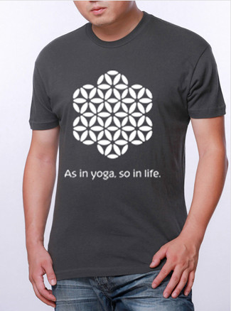 """Men's Short Sleeve Crew Neck Yoga Shirt - """"As in yoga, so in life."""" in color Charcoal by Three Minute Egg"""