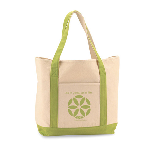Yoga tote bag by Three Minute Egg ® in color Natural/Apple Green