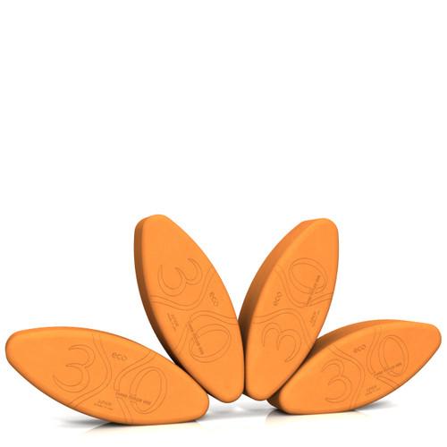 Small Ergonomic Yoga Block by Three Minute Egg - Junior Yoga Egg - Set of 4 - Multipurpose - ECO - Orange