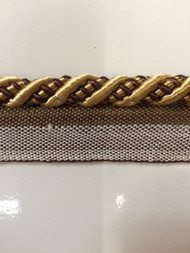 """3/8"""" ROUND CORD EDGE WITH LIP-3/8-12       (Brown & Gold)"""